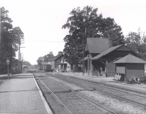 The Gaithersburg station (looking north up the tracks), 1911.  Picture our Mr. Ely here every morning and evening; he probably walked the few blocks home.  Photo by Lewis Reed, donated by the Reed family.