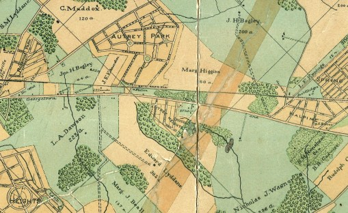 """1890 map - click to view. To orient you: Rockville is off the detail view to the left; the """"fairgrounds"""" at left is the general site of Richard Montgomery High School; """"Halpine"""" at right is near Congressional Shopping Center."""